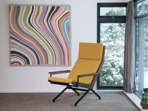 Rob Parry Lotus lounge chair design stoel vintage jellow